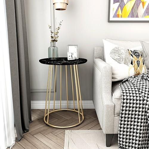 北欧大理石边几茶几简约客厅沙发小圆桌户型阳台角几创意床头桌柜_图4